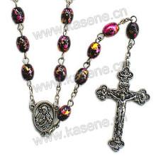 Горячее надувательство 6 * 8mm цветастое овальное ожерелье перлы Rhinestone Faux, милое ожерелье розария