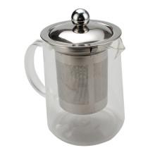 Bule de chá de vidro com tampa de aço inoxidável