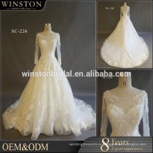 Высокого класса фабрики Китая свадебные платья плюс Размер с длинным рукавом