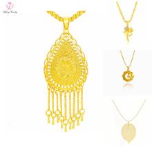 Neueste Design Saudi Dubai 24 Karat Gold Schmuck Halskette, einfache Charm Anhänger 24 Karat Gold Halskette Design