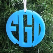 Couleur acrylique cercle ornement de Noël monogramme acrylique