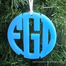 Color Acrylic Circle Christmas Ornament Monogram Acrylic