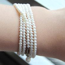 2-3mm Kartoffel Natur kultiviert Süßwasser Perle Armband (E150032)