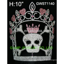 Large skull crystal pageant tiara crown