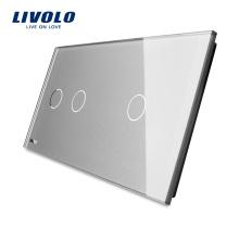 Livolo luxe gris cristal verre trempé panneau de verre double 151mm * 80mm à vendre VL-C7-C2 / C1-15