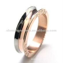 316 figura de la letra del acero inoxidable diseños color de rosa del anillo del oro para los hombres