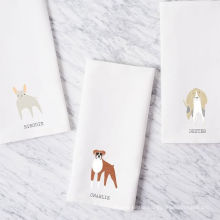 hight quality printing puppy dog white plain square kitchen tea towel TT-014