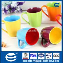 Fabricación de tazones de fuente de las tazas de la porcelana dobles, taza de cerámica esmaltada doble de la porcelana del color sólido del color