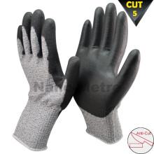 NMSAFETY 13 gauge glass fibre level 5 cut resistant glove cut prevent pu glove