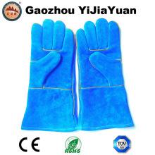 Blue Cowhide Split Leather Industrial Hand Safety Welding Work Gloves