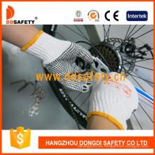 Bleach Knit Cotton / Polyester String PVC Dots Guantes de trabajo Dkp112
