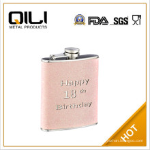 faux leather pouch 8oz hip flask with heat transfer logo