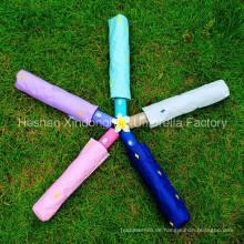 Qualität Aluminium automatische UV drei Falten Regenschirme (FU-3621AFA)