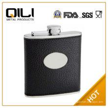 FDA 6oz negro con textura de cuero (piel de la vaca) frasco de la cadera