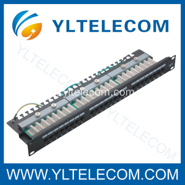 1U 19 polegadas 24port(3*8) tipo Patch Panel angular direito Cat. 5E e Cat. 6
