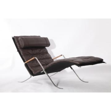 Brown Leder FK87 Grasshopper Chaise Lounge Chair Replik