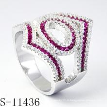 Bijoux en argent des femmes de la mode avec l'anneau de luxe de pierre de couleur (S-11436)