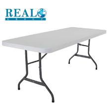 Mobília ao ar livre barato dobrável mesa de plástico dobrável restaurante 6-8 assentos mesas