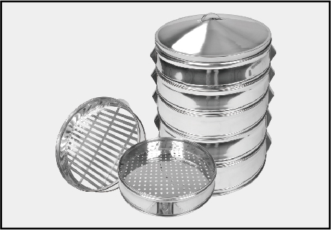 Stainless steel commercial steamer with lid