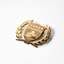 Durable Carved 24K Gold Plated Metal Lapel Pin Badge from Professional Manufacturer