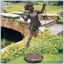 Garden Life Size Rope Skipping Bronze Girl Statue