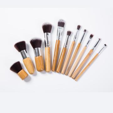 11 PCS Professional Holz Stiftungsbürsten Kabuki Make-up Pinsel