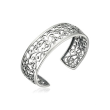 Großhandel Sterling Silber Filigran Manschetten Armband mit Rhodium überzogen