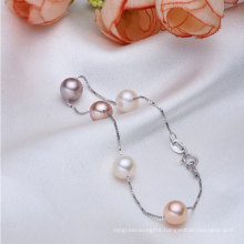 925sterling Silver Aaaa 7-8mm Round Freshwater Cultured Pearl Bracelet