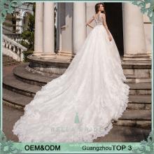Deep V Ausschnitt Vestido de Noiva Braut weißen Brautkleider sexy Brautkleider mit langen Zug