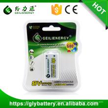 Batería recargable del litio de la alta capacidad 680mah 9V del fabricante de Geilienergy hecha en China