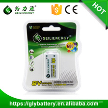 Bateria recarregável do lítio da capacidade alta 680mah 9V do fabricante de Geilienergy feita em China