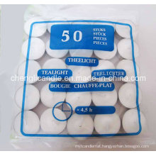 Paraffin Wax Pressed White Tea Light Candles in Alu Cup