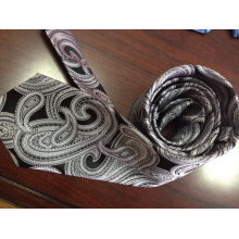 Woven Paisley Ties in White and Black with High Quality