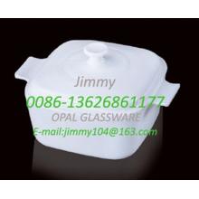 Square Milky Glass Steamer-2.5L