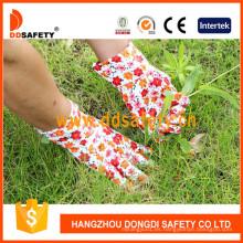 Guantes de jardinería de estampado de algodón con banda Cuff Dgb311