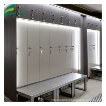 Waterproof HPL locker for changing room with bench