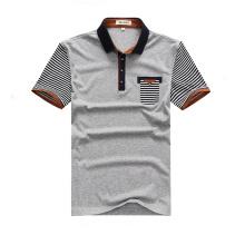 Cheap Uniform Short Striped Sleeve Grey Polo Shirts