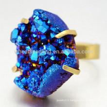fashion bezel setting big natural druzy gemstone rings, Copper Ring