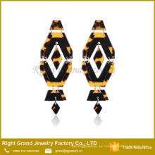 ShenZhen Gold Jump Ring Pendiente de acero Leopard Print Pendientes de acero inoxidable Jewelry Drop Pendiente de acrílico Stud