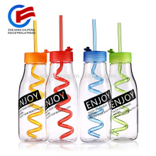 520ml Plastic Portable Outdoor Sport Fruit Juice Water Bottle with Straw