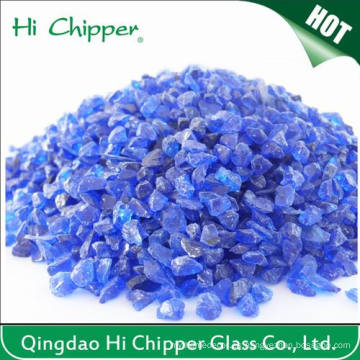 Lanscaping Vidrio de arena machacada Couble Blue Glass Chips vidrio decorativo