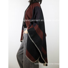 100% Acrylic Fashion Lady Winter Warm Hemmed Woven Poncho