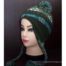 Пользовательские Pattern Новый азиатский стиль трикотажные шапочка Hat с Earflap (1-2272 / 73/74/76)