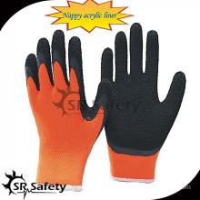 SRSAFETY 7G nappy acrylic latex coated men winter glove/thermal gloves