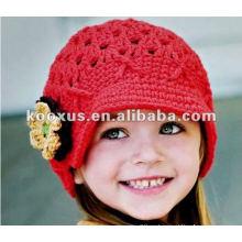 Babys 'Шапки вязания крючком шляпу с цветком вязания крючком младенцев младенческой шапочке Kid вязаный колпачок