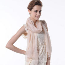 Nova Moda Design Mulher Cachecol de cor pura Acessórios de seda natural