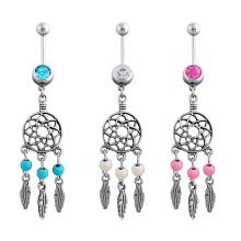 Anel de turquesa umbigo sonhador moda joia Piercing