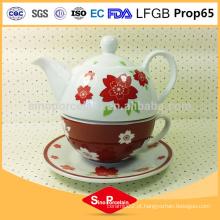 850ml mais vendidos cerâmica artesanal um copo de bule de flor vermelha