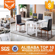new design high quality marble solid wood extending dining room table set