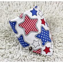 Promotional Customized Logo Stars Printed White Cotton Cute Baby Triangle Bandana (BO829)
